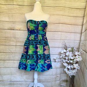 XHILARATION. Strapless floral dress. Size S
